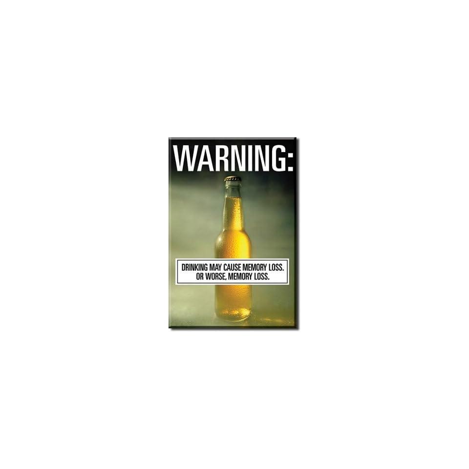 (2x3) Warning Drinking May Cause Memory Loss Beer Locker Refrigerator Magnet