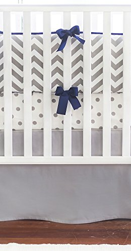 New Arrivals Crib Bed Set, Slate Navy Trim