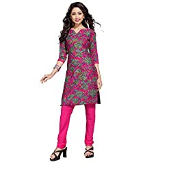 Shopeezo Pink Colored Poly Cotton Printed Dress Material Without Dupatta