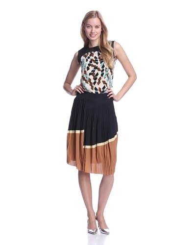 MARNI Women's Asymmetric Tri-Color Pleated Skirt