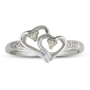 Double Heart Diamond Promise Ring ( Availabe Sizes 4-9)