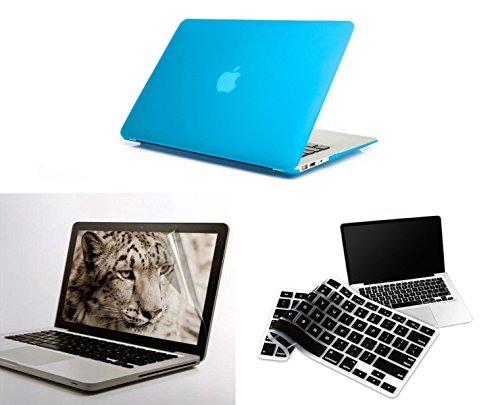 "PINDIA AQUA BLUE MATTE FINISH APPLE MACBOOK AIR 13 13.3 "" HARD CASE SHELL COVER COMBO BLACK KEYBOARD SCREEN GUARD"