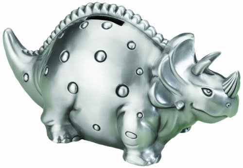 Lillian Rose Pewter Bank, Dinosaur, 7""