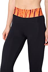 iSweven Black Design Printed Polyester Multicolor Yoga pant Tight legging for womens girls