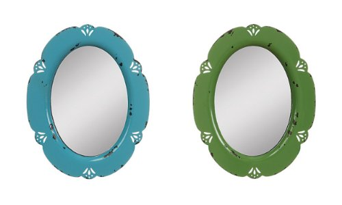 2Pc Antique Vintage Distressed Oval Hanging Wall Mirrors Chipped Turquoise & Emerald Green Shabby Cottage Decor front-916654