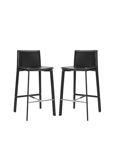Safavieh Set of 2 Janet 30 Bar Stools, Black