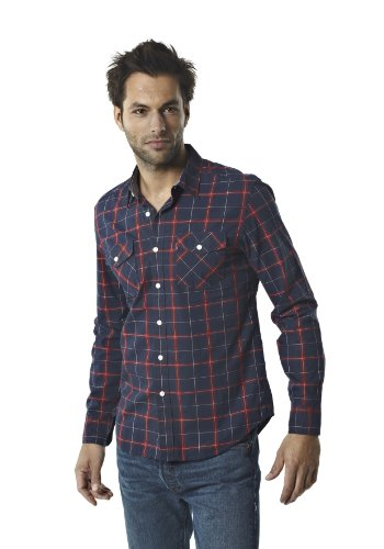 Levi's Men's Levi's Truckee Western 64306 Casual Shirt Blue (Dress Blues - Neptune Plaid 0045) 56