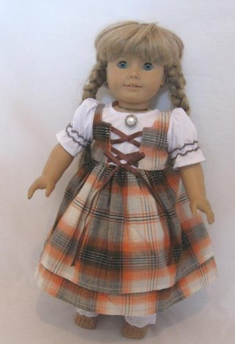 "Plaid Pioneer Winter Swedish Dirndl Scandanavian Type Prairie School Dress Doll Clothes Gown Outfit Fits American Girl 18"" Doll Kirsten"