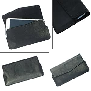 i-KitPit Quality PU Leather Pouch Case With Magnet Closure For Lava iris 402 (BLACK)