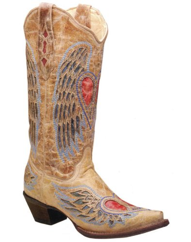 Corral Boot Women's WITH HEART PEACE SIGN Leather Boots