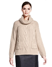 Autograph Cowl Neck Cable Knit Jumper