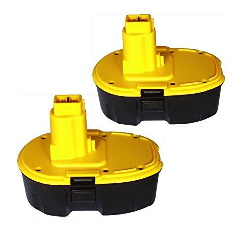 Topbatt 2Packs 18V 3.0Ah NI-MH Replacement Battery for Dewalt Cordless Tools DC9096 DE9039 DE9095 DE9096 DE9098 DW9095 DW9096 DW9098 DE9503 (Dewalt 18v Battery compare prices)
