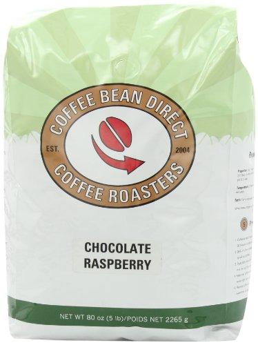Coffee Bean Direct Chocolate Raspberry Flavored, Whole Bean Coffee, 5-Pound Bag