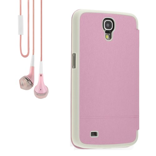 Pu Leather And Plastic Flip Case Cover For Samsung Galaxy Mega 6.3 I9200 (Pink) + Pink Vangoddy Headphone With Mic