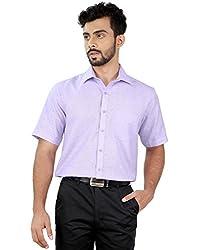 Zeal Light Violet Formal Half Sleeves Linen Blend Shirt