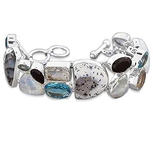 925 Sterling Silver White Topaz Dendritic Opal Blue Topaz Black Onyx Pearl Rainbow Moonstone Natural Gemstone Designer Fashionable Link Bracelet 8 1/2