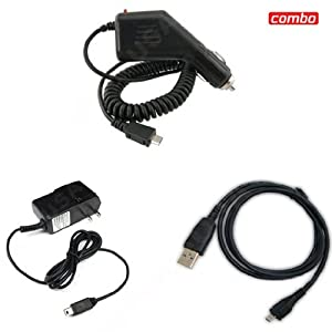 HTC EVO 4G Sprint Combo Rapid Car Charger + Home Wall Charger + USB Data Charge Sync Cable for HTC EVO 4G Sprint