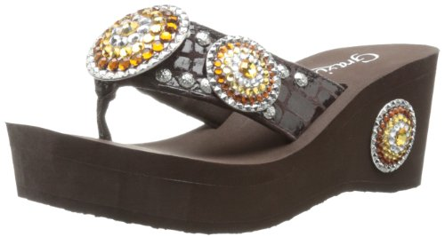 Grazie Women'S Roaring Platform Sandal,Brown,5.5 B Us back-552786