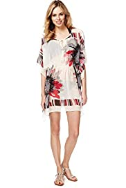 Floral Striped Cover-Up Kaftan
