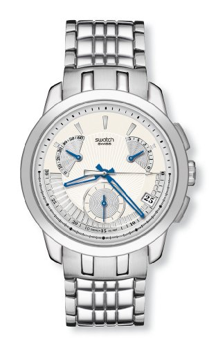 Swatch Mens Blue Signs Cream Dial Bracelet Watch