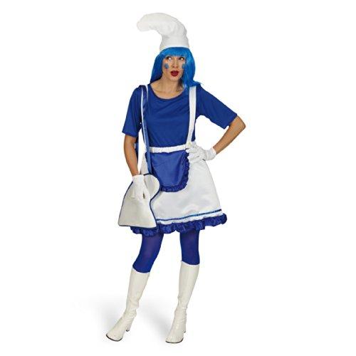 Costume da puffetta - Costume da donna in due pezzi - Gonna e maglia - Blu e bianco - 40/42