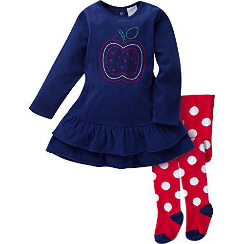 Gerber Girls' Micro Fleece Dress with Tights, Apple, 12 Months
