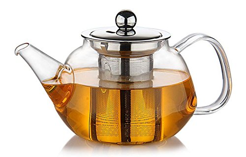 Premium Glass Teapot with Removable Stainless Steel Infuser that holds 34 oz (1000 ml) - Perfect for Making Loose Leaf, Bagged, or Blooming Tea - Made from Clear Heat Resistant Borosilicate Glass (Glass Mug Microwavable compare prices)