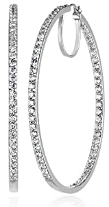 Plated Sterling Silver Swarovski Zirconia 2-Inch round Hoop Earrings from Amazon Curated Collection