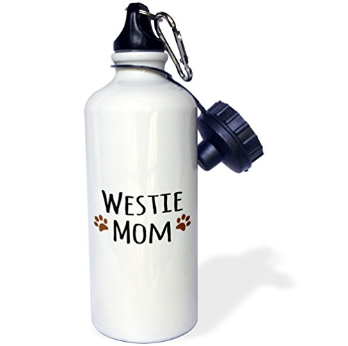3dRose wb_154215_1 Westie Dog Mom-West Highland White Terrier-Doggie By Breed-Doggy Lover Owner Brown Paw Prints Sports Water Bottle, 21 oz, White