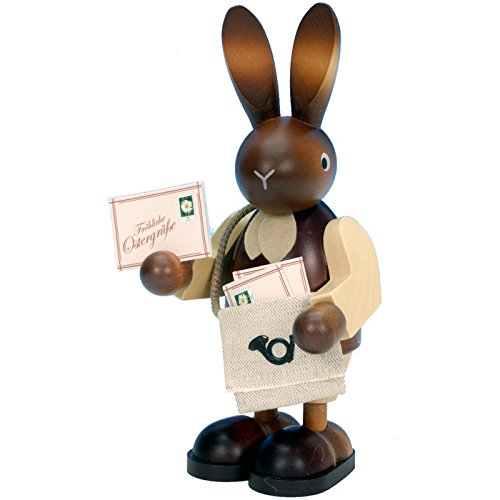 Alexander Taron Christian Ulbricht Ornament Bunny postman In Natural Wood Finish 8.75″H x 5″W x 4.25″D
