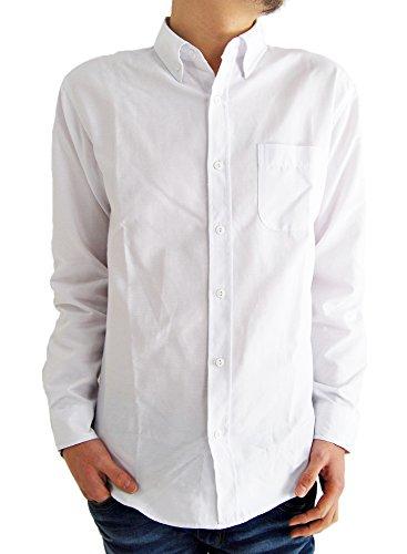 (アーケード) ARCADE メンズシャツ 選べる10タイプ オックスフォード ボタンダウンシャツ カラーボタン 長袖 白シャツ L ホワイト(レギュラーボタン)
