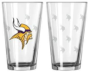 Minnesota Vikings Satin Etch Pint Glass Set by Caseys