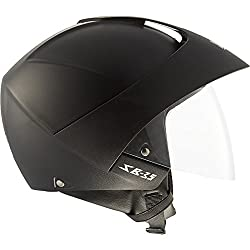 STEELBIRD SB-35 OPEN FACE HELMET Cruze Natural With Peak (BLACK, 60 cm)