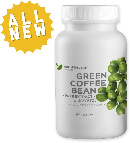 Pure Green Coffee Bean Extract 800mg with Svetol, GCA and 50% Chlorogenic Acids – Dr Oz Recommended for Natural Weight Loss As Seen on TV – Extreme Fat Burner and Dietary Supplement with No Fillers, Additives or Side Effects – 60 Vegetarian Capsules, 30 Day Supply – Made in USA