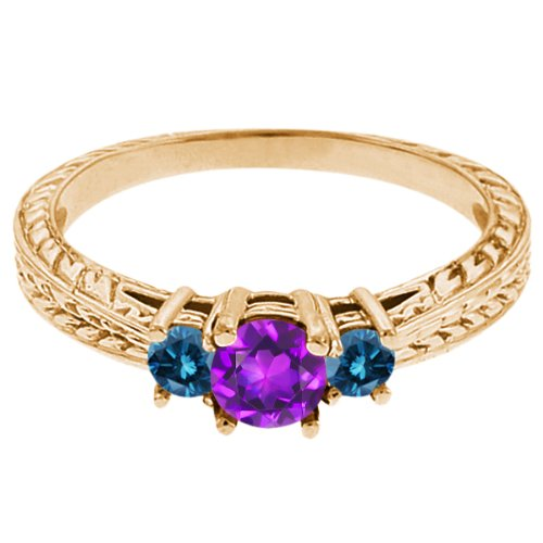 0.60 Ct Round Purple Amethyst Blue Diamond 18K Yellow Gold 3-Stone Ring