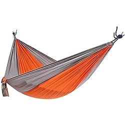 Ohuhu Portable Nylon Fabric Travel Camping Hammock, 600-Pound Capacity, Orange and Gray