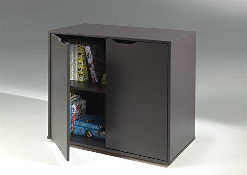 Vipack PICOHSBUBIKD15 Pino Lit Mezzanine avec Bureau/Bibliothèque et Commode 2 Portes Pin Massif Taupe