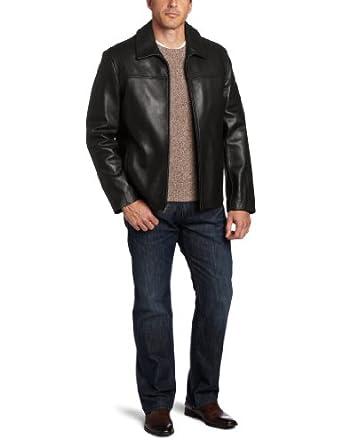 可汗Cole Haan Smooth Lambskin Leather 男士顶级美式 100%羔羊皮衣咖啡$277.99