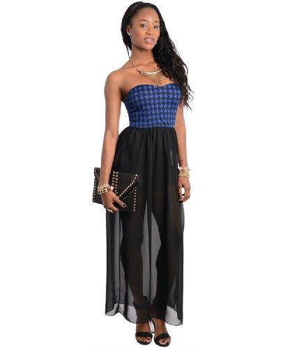 2Luv Women'S Houndstooth Sweetheart Chiffon Maxi Dress Royal Blue L(D8798)