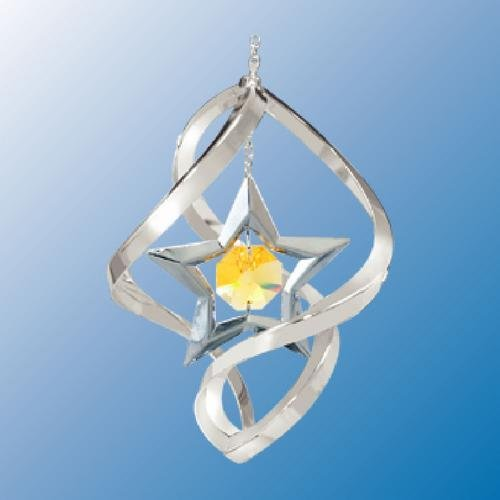 Chrome Plated Star In Spiral ... Hanging Sun Catcher Or Ornament..... With Yellow Color Swarovski Austrian Crystal front-336908