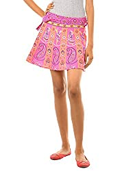 Fashiana Women's Treditional Print Cotton Mini Wrap-around Skirt