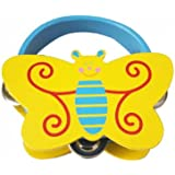 Cute Butterfly Tambourine Wood Hand Drum For Kids