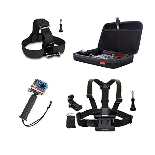 "Masione™ Pefect Set Gopro Mount Accessory : Large Carrying And Travel Protective Case Bag(12.6"" X8.6"" X2.7"")+ Head Belt Strap + Chest Harness + Aluminum Handle Grip +Aluminum Thumbscrew/Thumb Screw + J-Hook Mount For Gopro Hero1, Hero2, Hero3, Hero3+ Came"