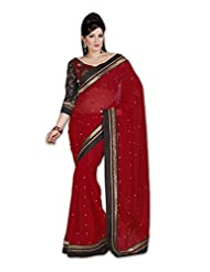 Myfzone Fashionable Chiffon Gorgeous Embroidery Zari Work Black Lace Saree [MFZ1013SF_Maroon]