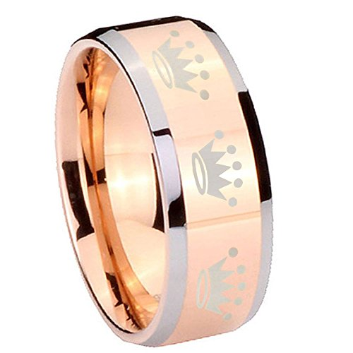 5Mm Tungsten Carbide Crown Design Rose Gold Silver Edges Engraved Ring Size 5