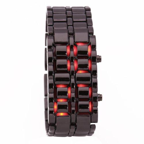 Black Metal Band Iron Lava Samurai Style Wrist Watch Faceless Japanese Inspired Red Led