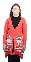 Romano Women's Pretty Orange Winter Sweater Cardigan Shrug