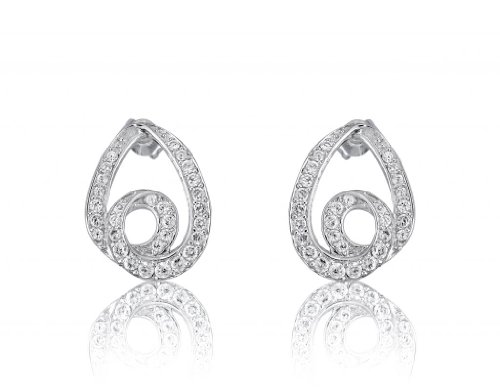 Lifestyle Infinity Lifestyle Clear Cubic Zirconia Spiral Drop Earrings For Women (E204014R) (Transperant)