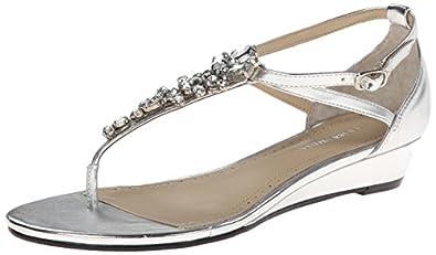 Adrienne Vittadini Footwear Women's Veaber Rubber Dress Sandal,Silver,6 M US
