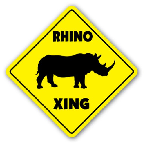 RHINO CROSSING Sign xing gift novelty horn hunting rifle safari where to see